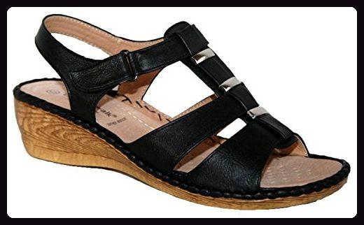 Cushion Walk leichte Sommersandale für Damen, mit Fersenriemen und  Keilabsatz, Schwarz - schwarz -