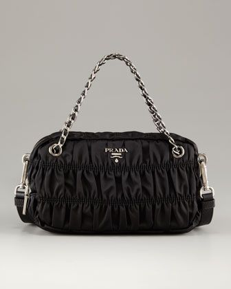 f1bdac1fded430 Extra Small Zip Top Black Ruched Nylon Shoulder Bag by Prada at Neiman  Marcus.