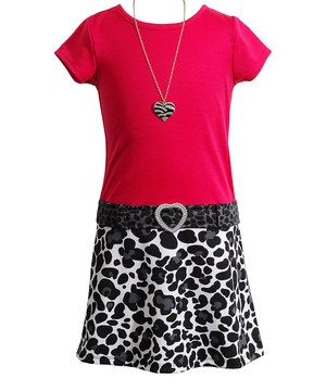 Youngland Fuchsia & Black Leopard Rhinestone Dress & Necklace - Girls by Youngland #zulily #zulilyfinds