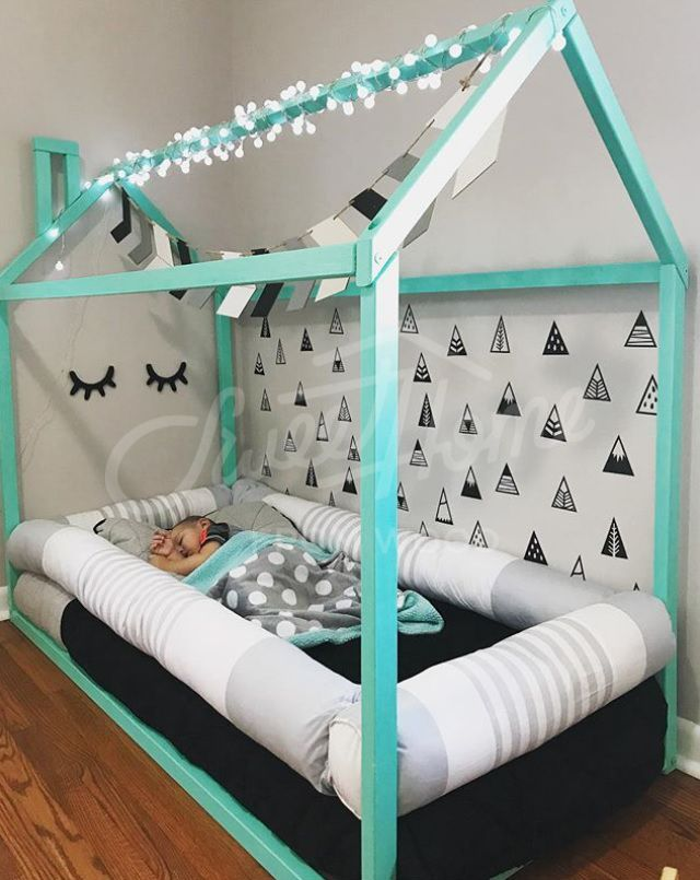 Black, white and mint kids room idea, toddler bed, house shaped bed ...