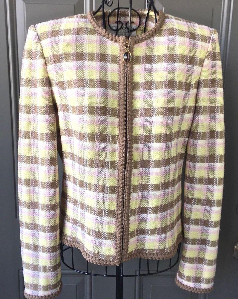 ddf5a15f St John Collection Marie Gray Plaid Knit Jacket Braid Trim Stretch Zipper  Size 4 #StJohn #Jacket