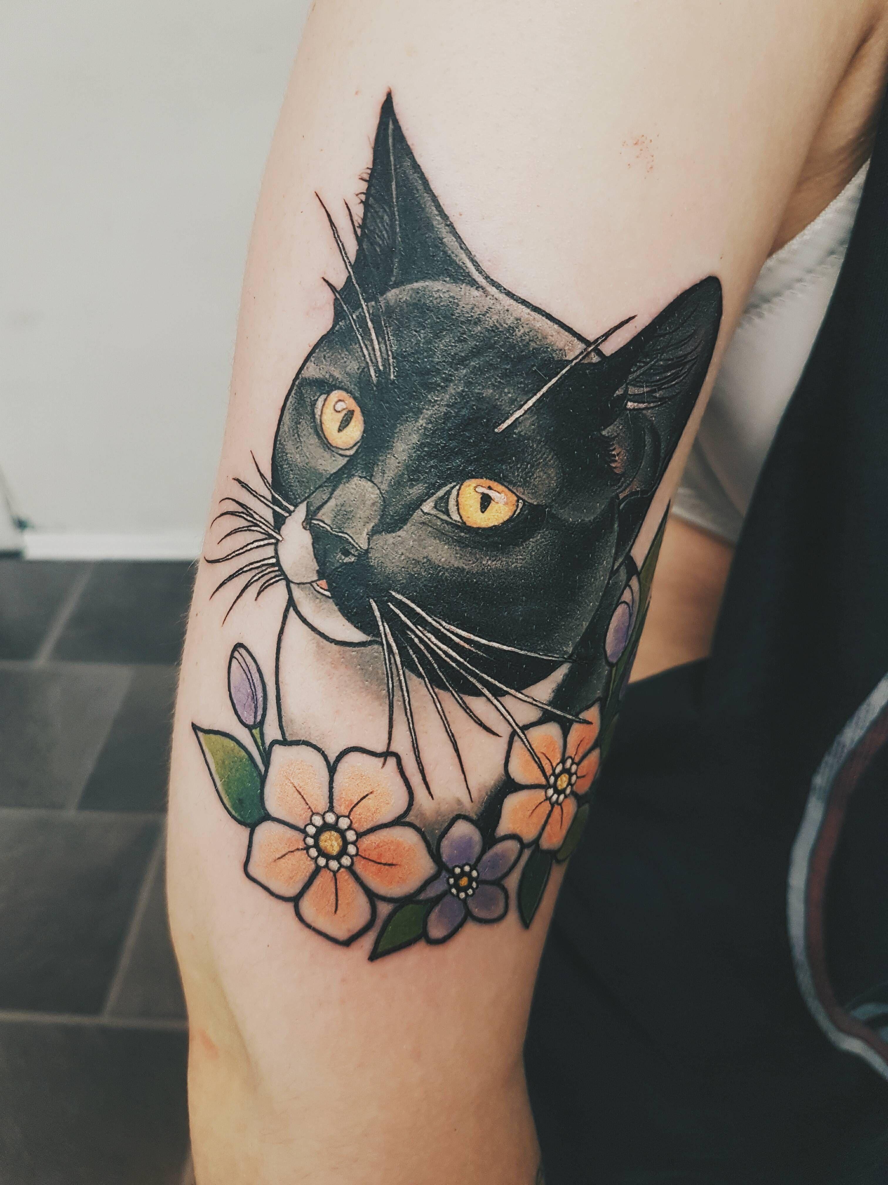 I got my cat tattooed on my arm today! Done by Marielle @ BLEKK Oslo