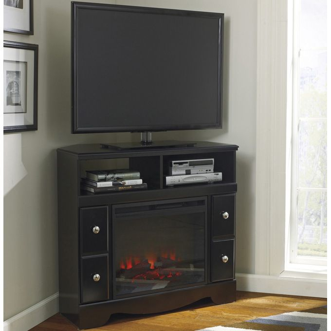 Ashley Shay Corner TV Stand with Fireplace Option - The ...