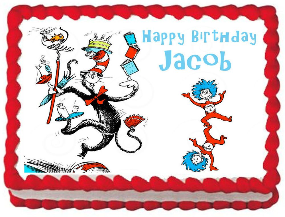 Pleasant Cat In The Hat Edible Image Cake Topper Frosting Sheet Personalised Birthday Cards Epsylily Jamesorg