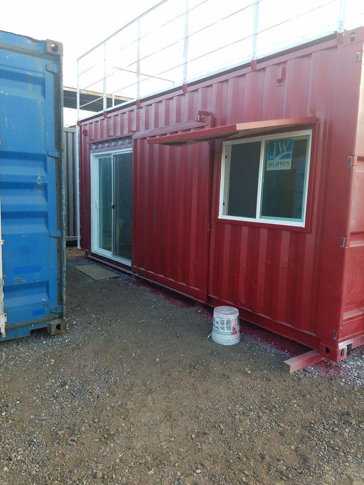 20ft Custom Shipping Container Bunk Sleeping Temp Home Office Cabin Studio Custom Barn Doors Sliding Glass Door Shipping Container