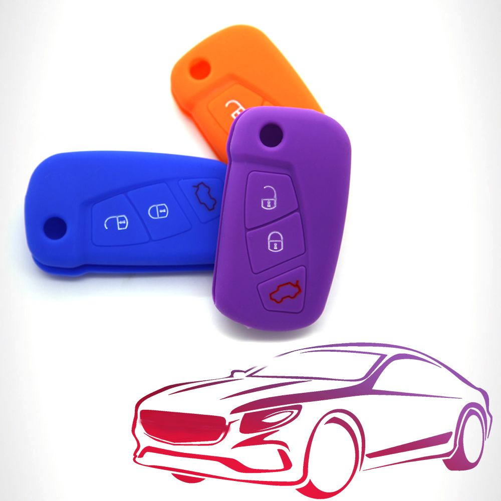 1pcs Silicone 3 Buttons Car Key Case For Ford Ka Key Cover Flip