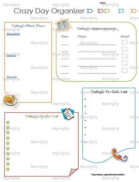 Crazy Day (Daily) Planner / Organizer - Printable PDF via Etsy