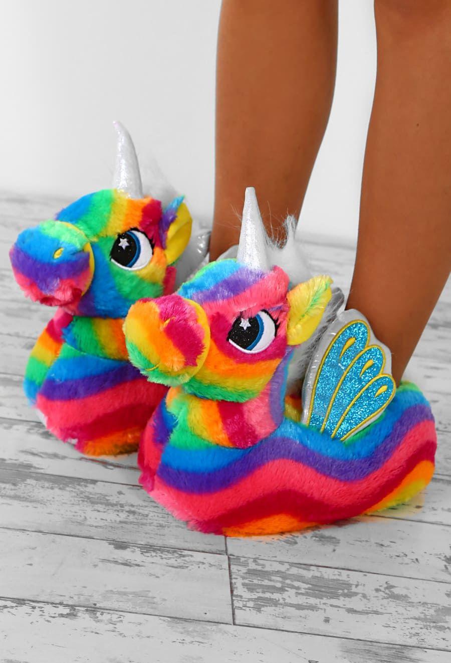 b8ab70d4c0a Magic At Midnight Rainbow Unicorn Slippers - UK 3-4