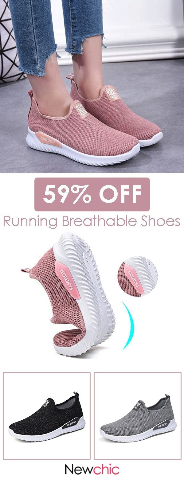 【59% off】Women Outdoor Running Breathable Mesh Slip On Flat Shoes.#womensnea…