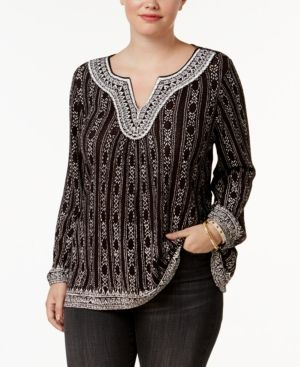 9904be40e22 Lucky Brand Trendy Plus Size Embroidered Peasant Top - Black 2X ...