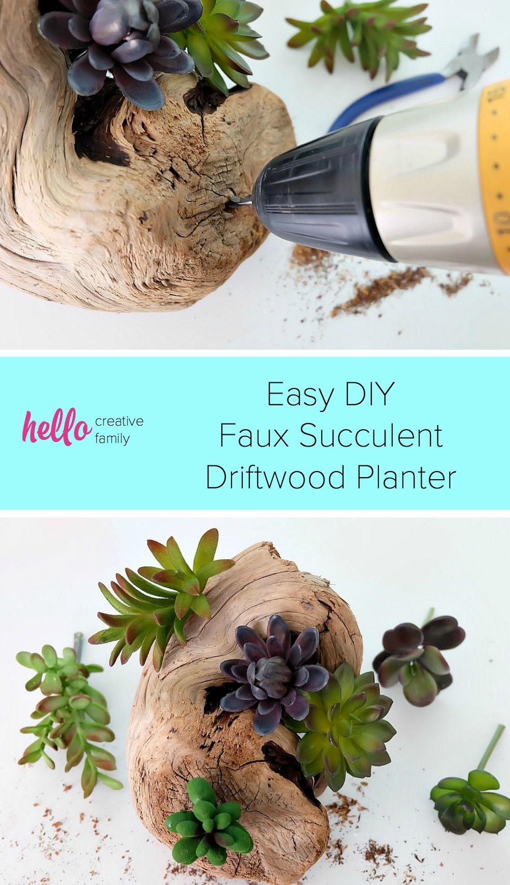 Easy diy faux succulent driftwood planter diy u craft ideas