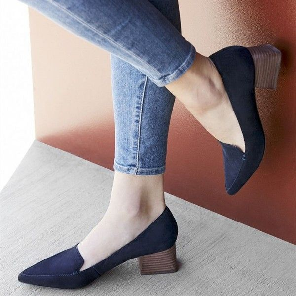 5db066bca0d Navy Pointy Toe Block Heel Loafers for Women for Work