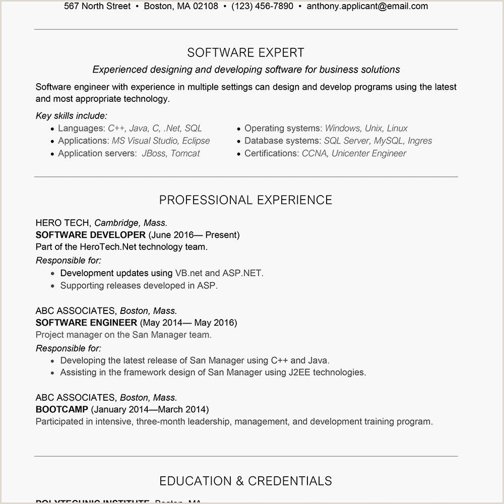 Fresher Resume format for software Developers Fresher