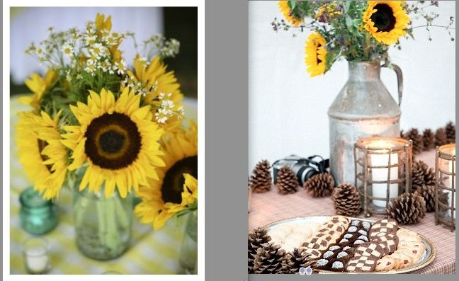Sunflower wedding centerpieces ideas gallery wedding decoration ideas ok so now im back to the blue and yellow again i think sunflowers junglespirit Image collections