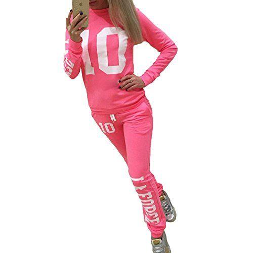 Inlefen Survêtement Femme Ensemble de Sports Doux Confortable Manches  Longues Pantalon 2 Pièce Vêtements Set Sport 90217d6e998