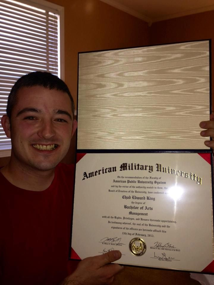 Chad king shows off his bachelor of arts in management