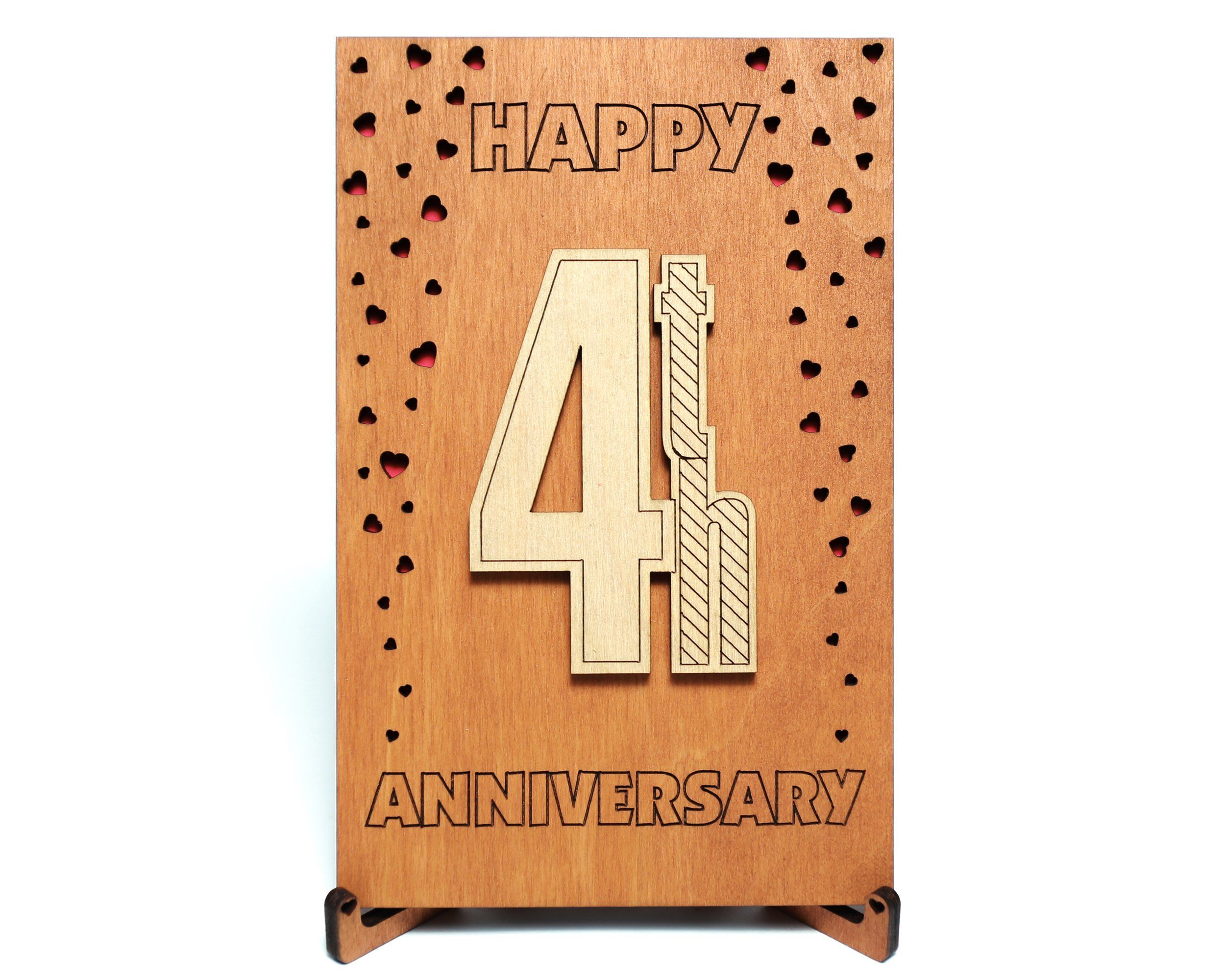 Happy 4th Anniversary Card, Gift for Four Years fourth 4