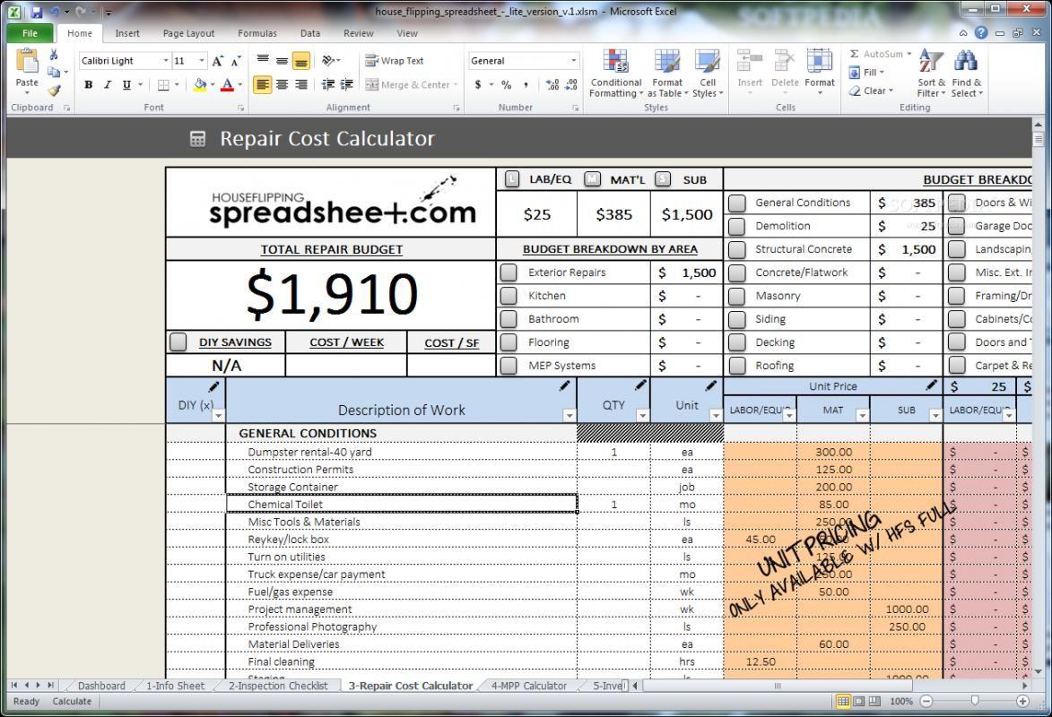 Real Estate Flip Spreadsheet