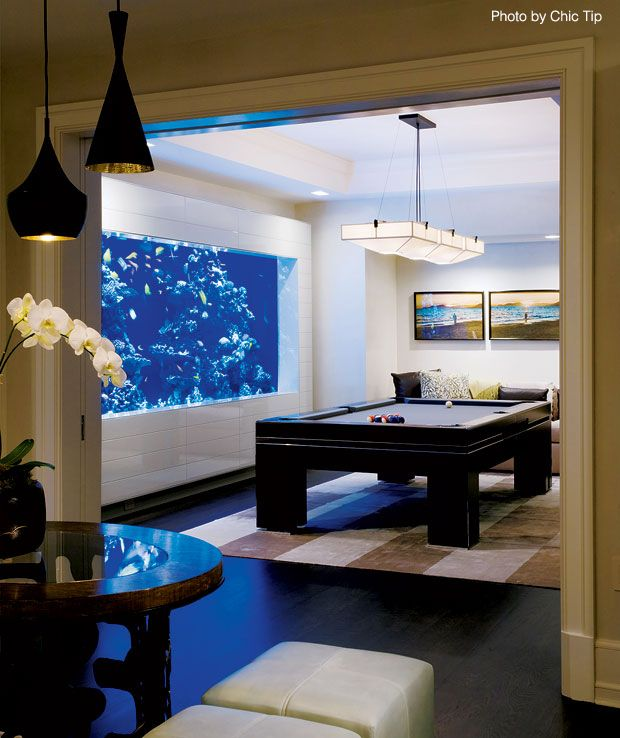 It May Not Look Like A Basement, But This Mansion Made The Space For A  Beautiful Pool Table Along The Large Aquarium. #pooltable #pool  #homeaquarium