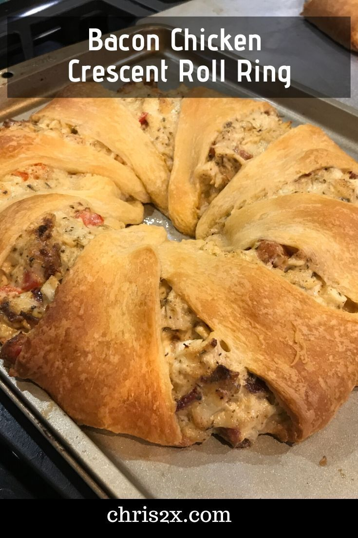 Bacon chicken crescent roll ring inside chriss head