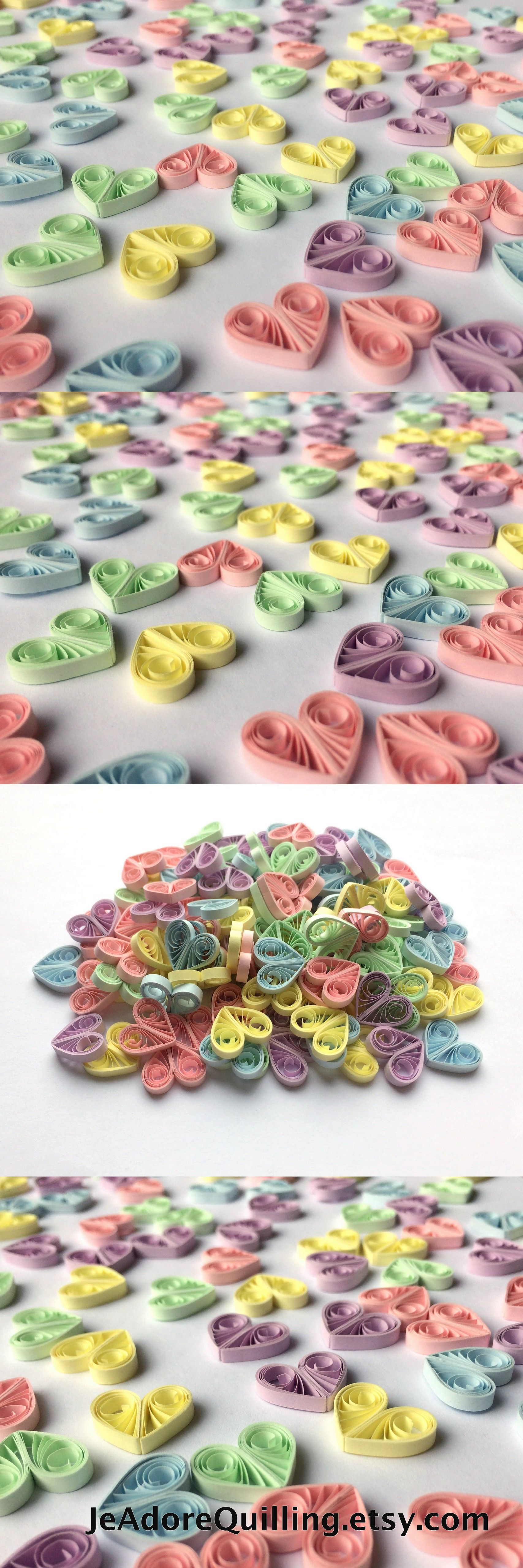 Quilling wedding decorations  Quilled Hearts Paper Quilling Art Confetti Scatter Ornaments Gifts