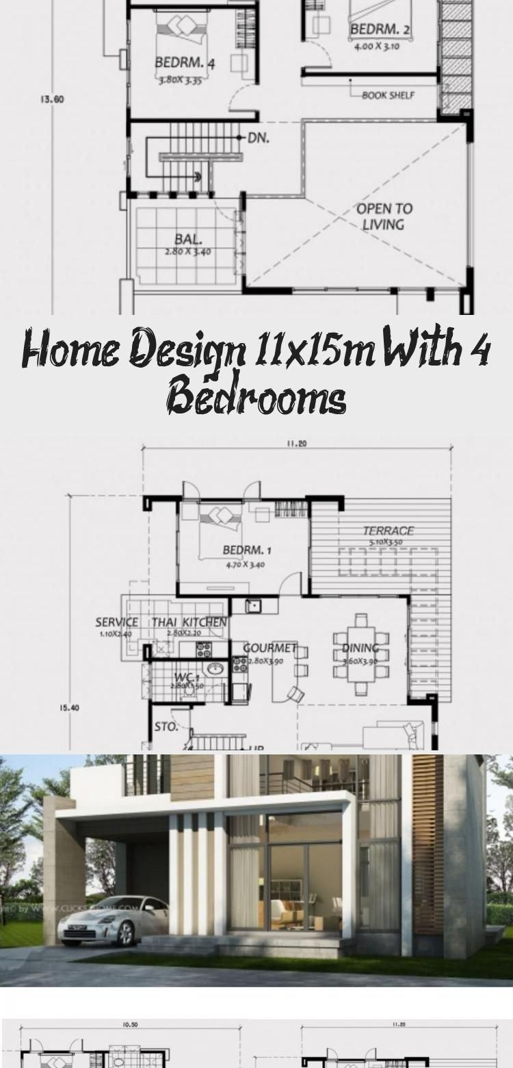 Home Design 11x15m With 4 Bedrooms Home Planssearch Floorplans4bedroomsmall Floorplans4bedroomlong F In 2020 House Design Floor Plan 4 Bedroom Modern Architecture