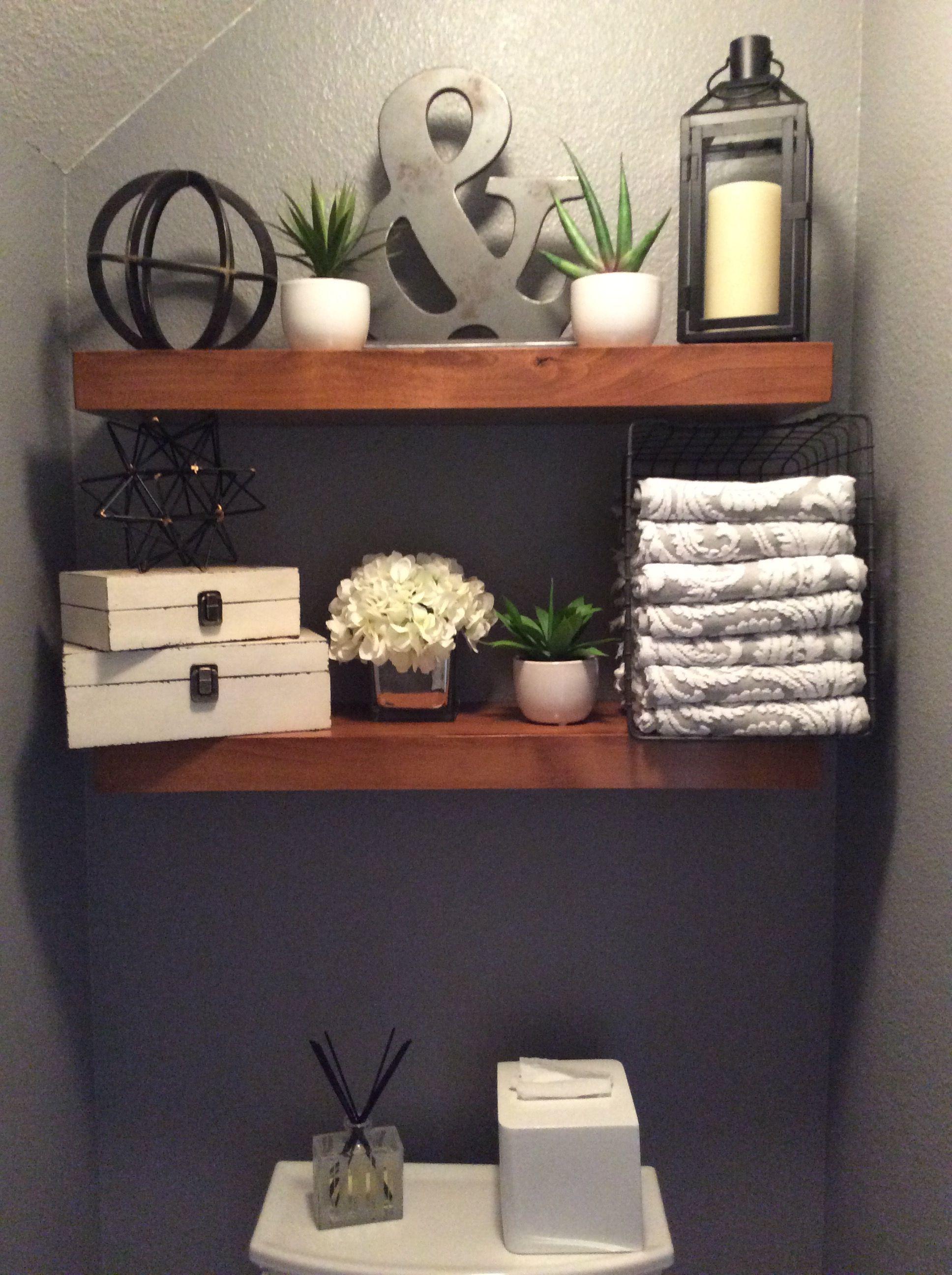 20 Interesting Powder Room Shelving Ideas