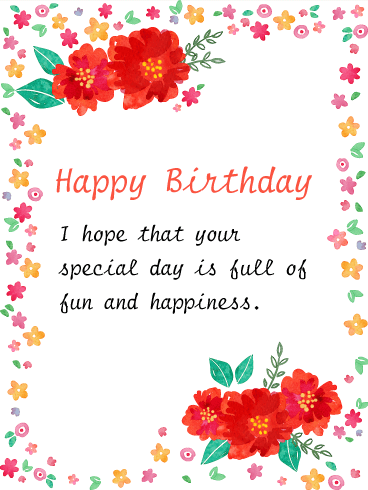 Hand Painted Style Flower Birthday Card Birthday Greeting Cards By Davia Happy Birthday Wishes Cards Best Birthday Wishes Happy Birthday Cards
