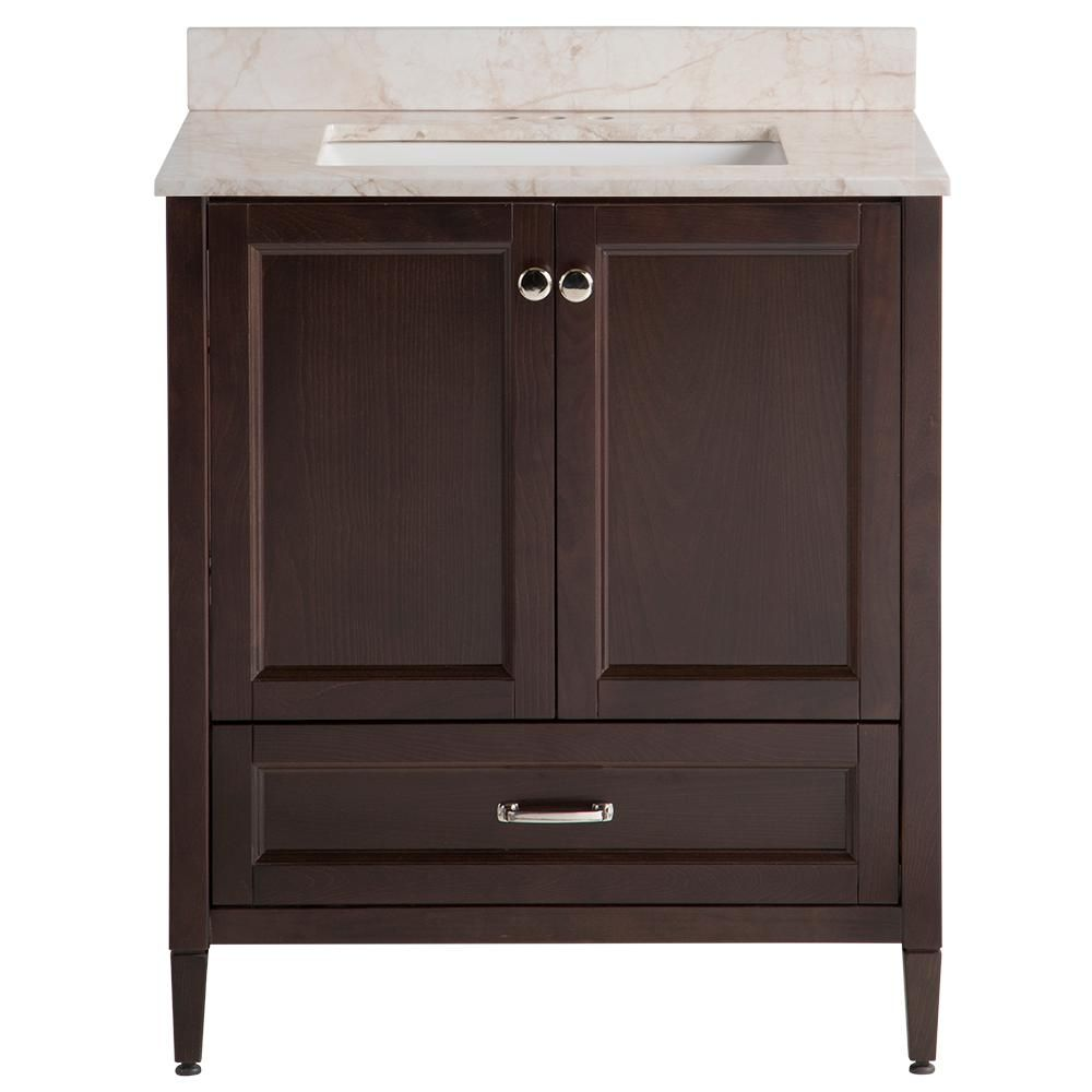 Home Decorators Collection Claxby 31 In W X 22 In D Bathroom Vanity In Chocolate With Stone Effect Vanity Top In Dune With White Sink White Sink Small Bathroom Vanities Dark Wood Bathroom
