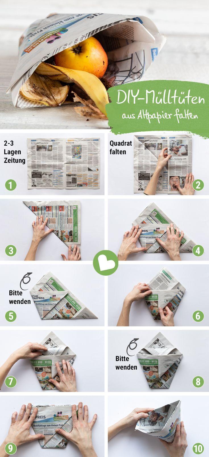 Mülltüten und Einkaufstüten ohne Kleben aus Zeitungspapier falten - mit Video #upcyclingideen