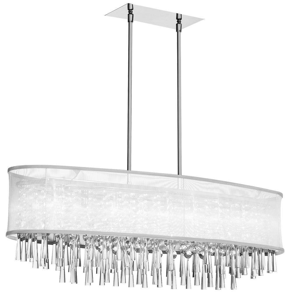 8 light crystal oval chandelier polished chrome oval white organza 8 light crystal oval chandelier polished chrome oval white organza shade arubaitofo Images