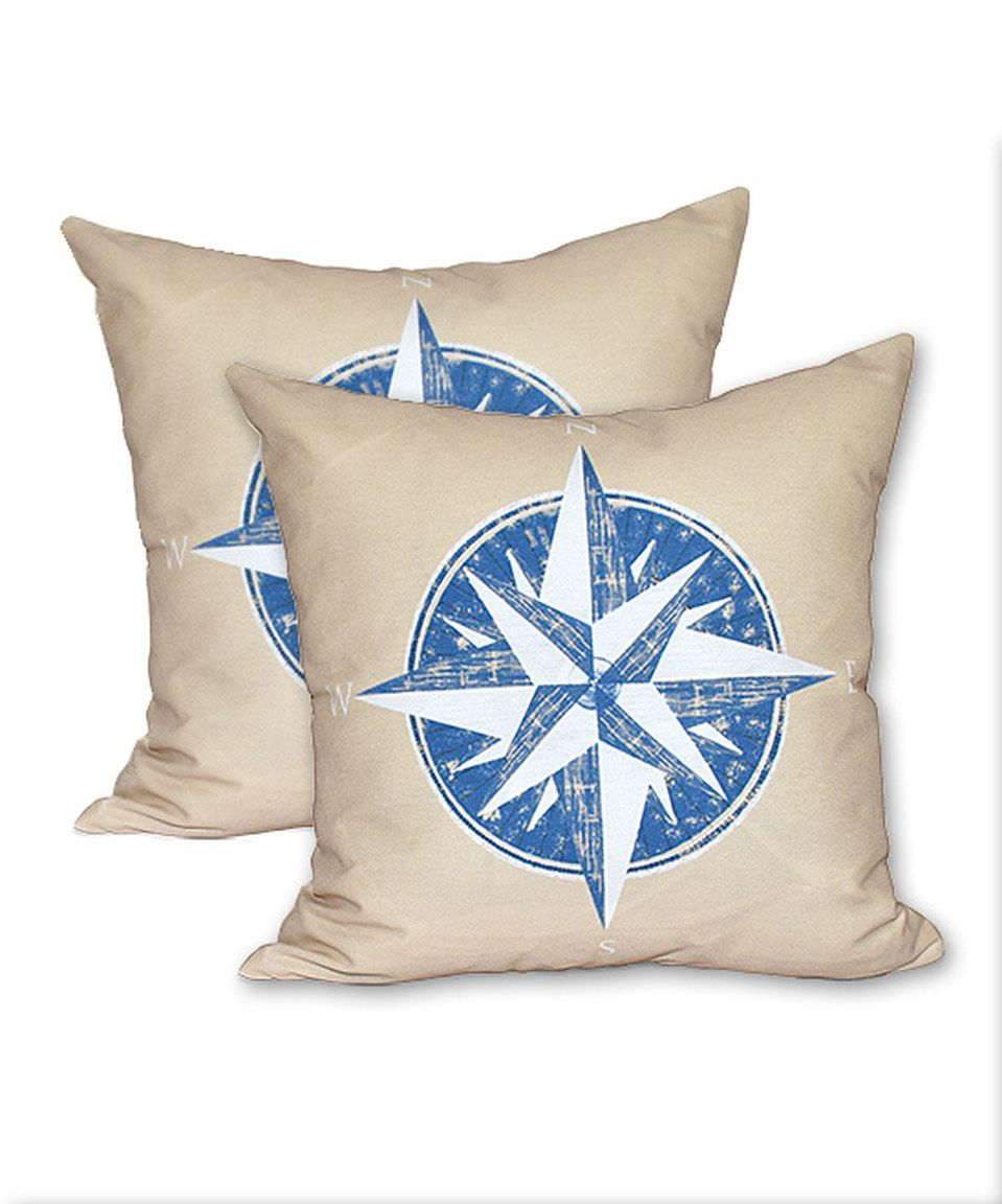 Loving this Taupe & Blue Compass Throw Pillow - Set of Two on #zulily! #zulilyfinds