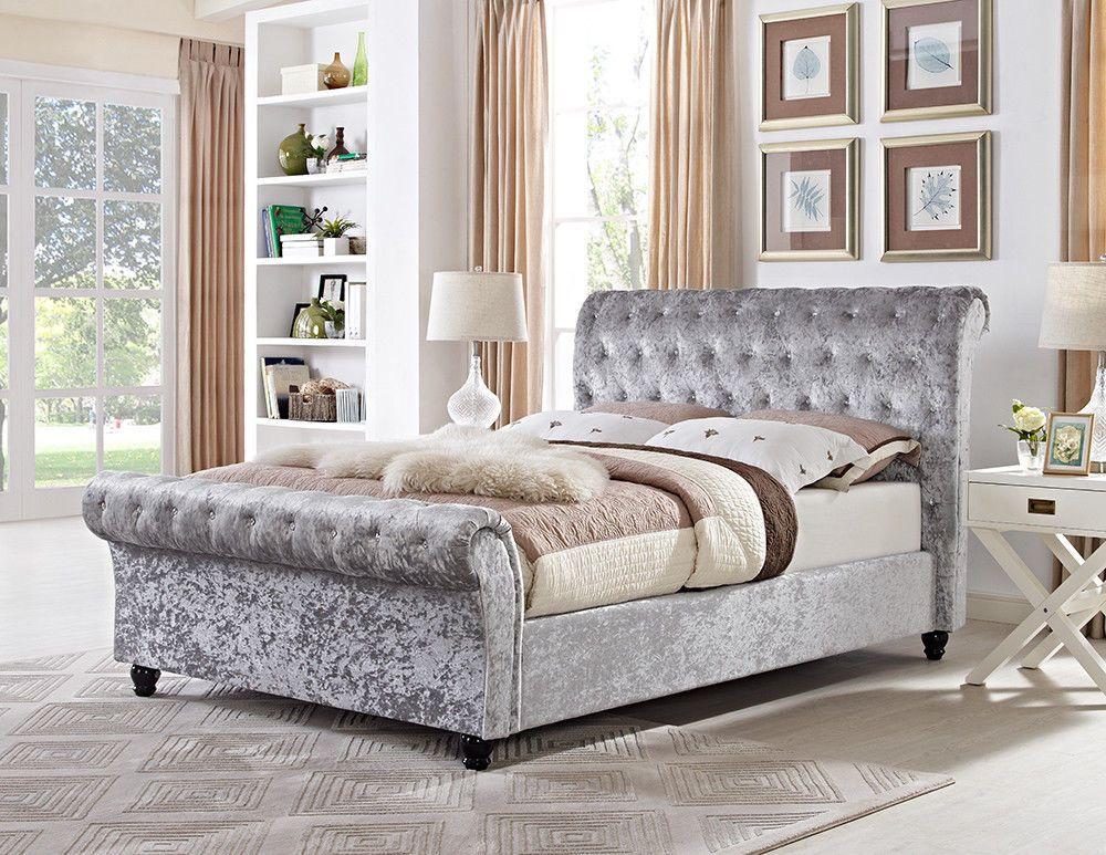 Silver Crushed Velvet Upholstered Chesterfield Sleigh Bed Frame