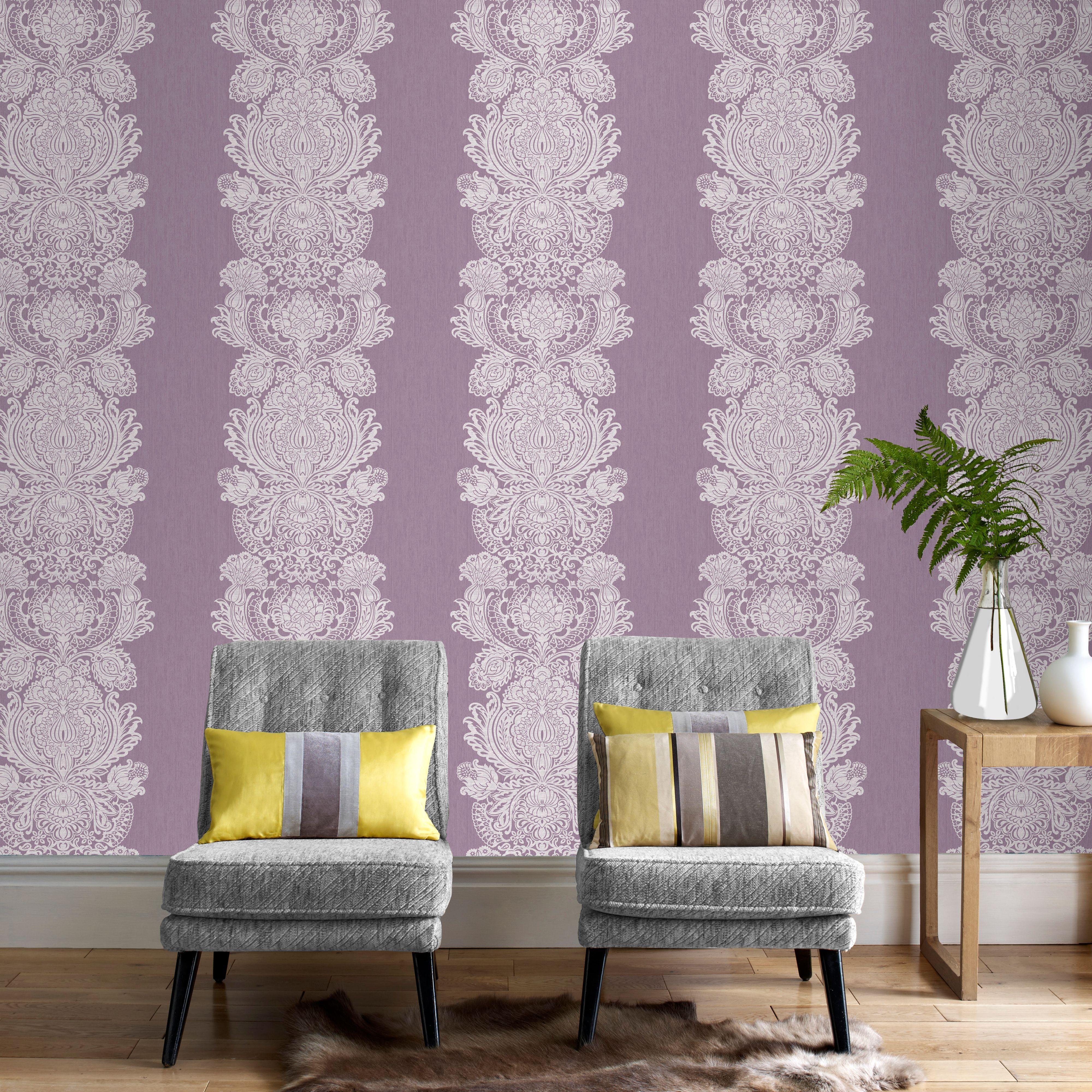 Purple Grandure Wallpaper Departments DIY at B&Q