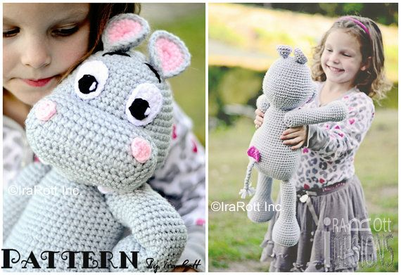 NEW PATTERN  Happy Hippo the Hippopotamus by IRAROTTpatterns, $5.50