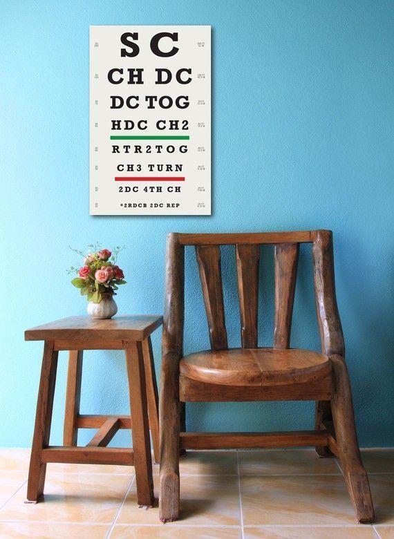 Too funny. I wonder if I could make this myself - Crochet eye chart.