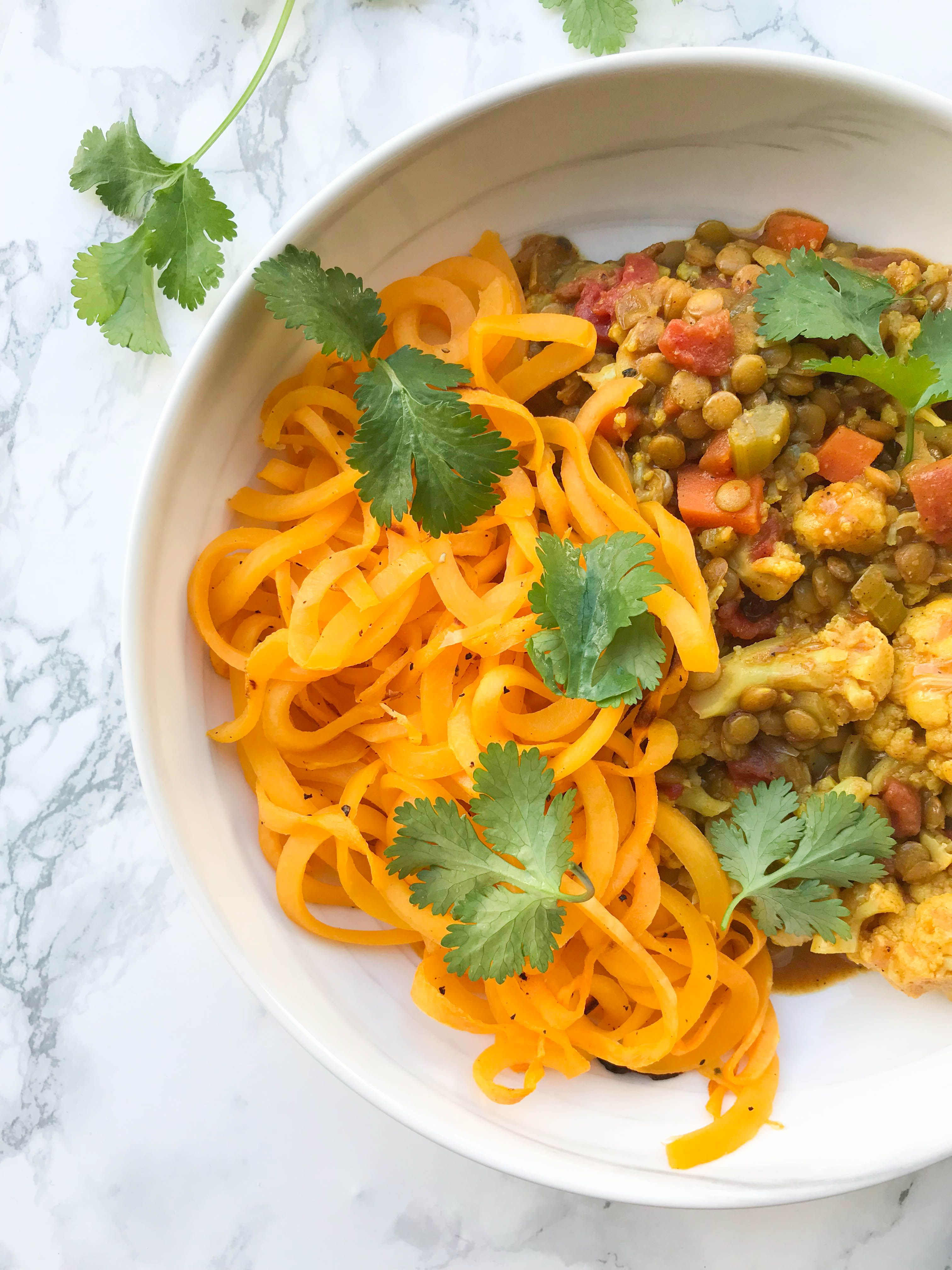 Lentil And Cauliflower Curry With Roasted Butternut Squash Noodles