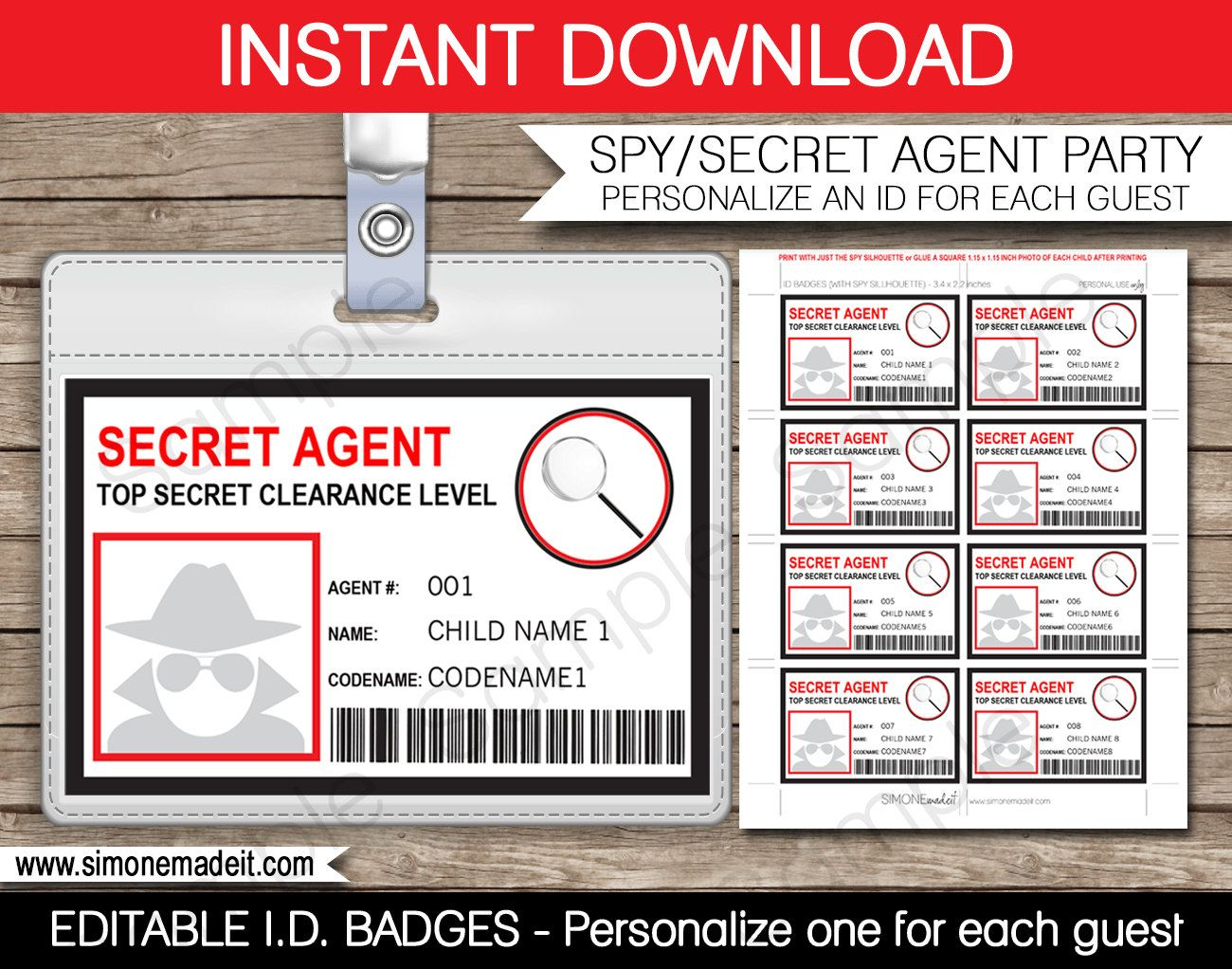 picture about Secret Agent Badge Printable called Spy Birthday Social gathering Badge - Top secret Representative Badge - Printable Identification