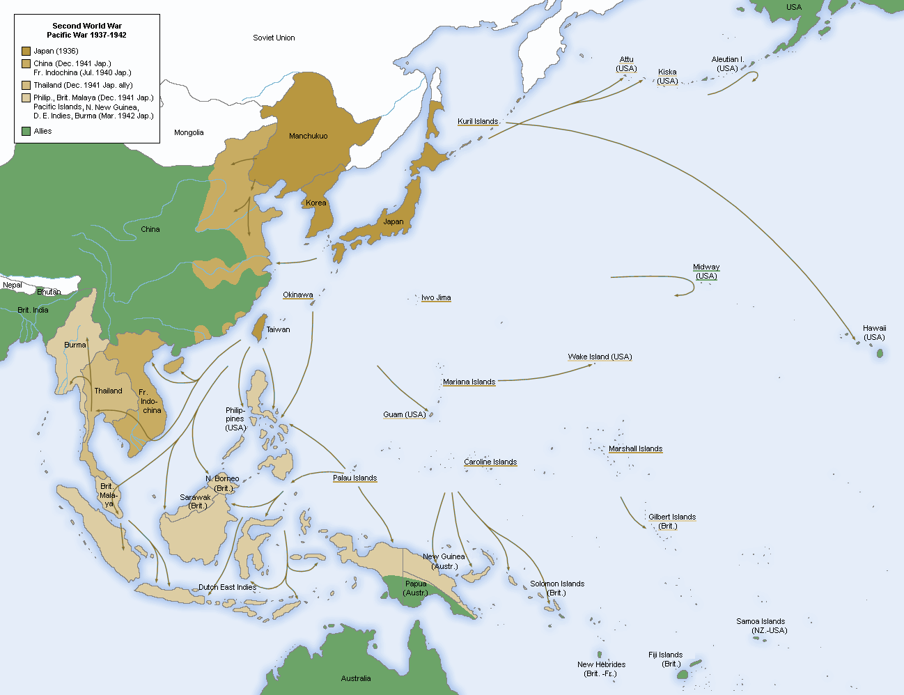 This map shows the areas under japanese control the allied advance second world war asia map japanese advance until gumiabroncs Gallery