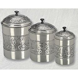 Perfect Pewter Plated 3 Piece Embossed Steel Canister Set