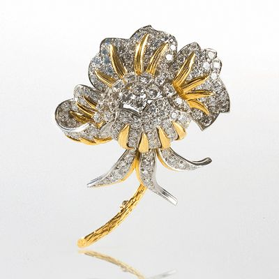 French Mid-Century Gold and Platinum Flower Brooch by Pierre Sterlé Brooches Jewelry Antique Jewelry Tiffany Lamps Art Nouveau