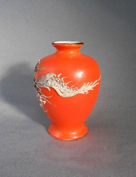 Moriage Vase Black White Orange Dragonware Porcelain Moriage