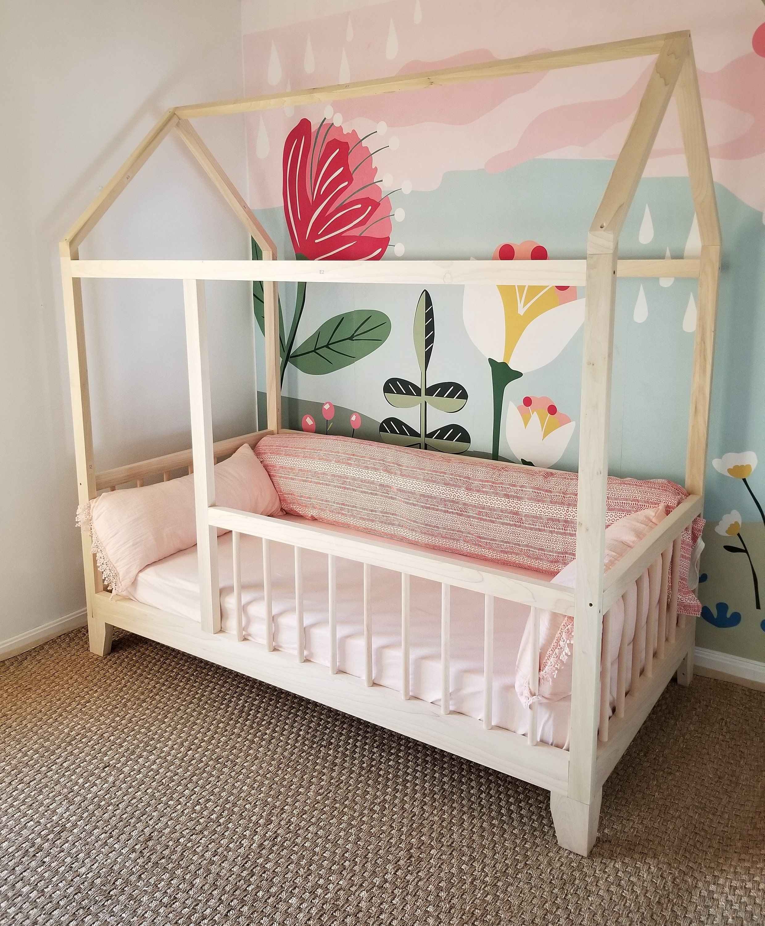 Raised Four Rail Hardwood Montessori Twin Full Toddler House Etsy Kids Bed Frames House Beds For Kids Diy Toddler Bed