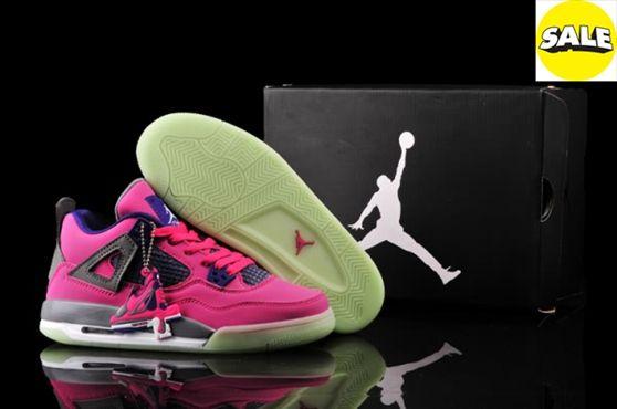639816 2014 Womens Pink Purple Air Jordan 4 Retro Night Light Shoes USHW