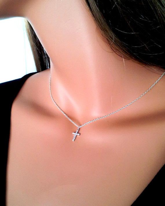 Sterling silver cross necklace small swarovski crystal cross pendant sterling silver cross necklace small by divinitycollection on etsy 4000 mozeypictures Images