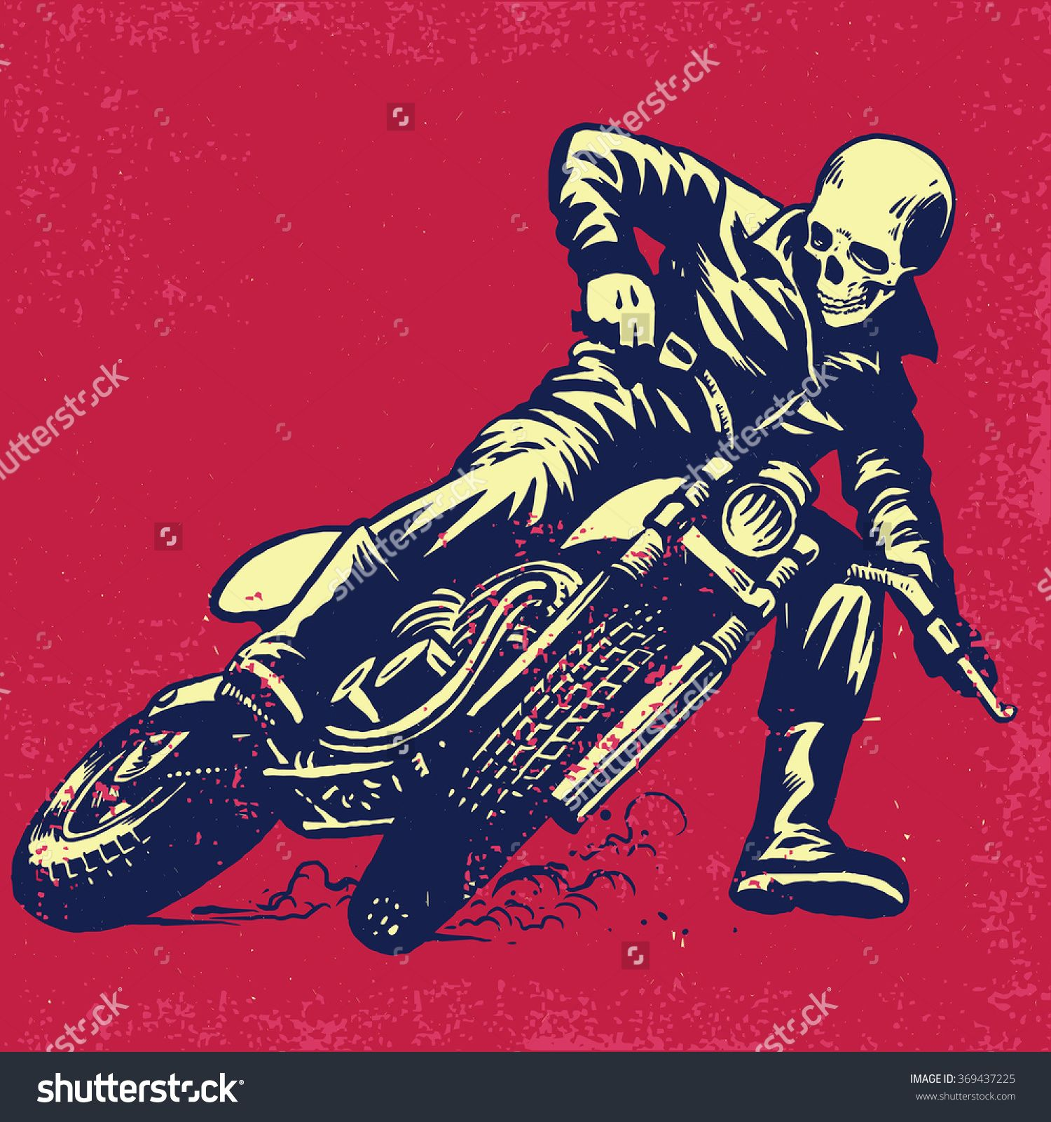 Hand Drawing Of Skull Riding A Vintage Motorcycle, Texture