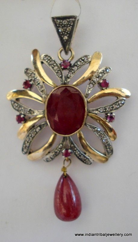 victorian diamond ruby 14k gold silver by indiantribaljewelry,