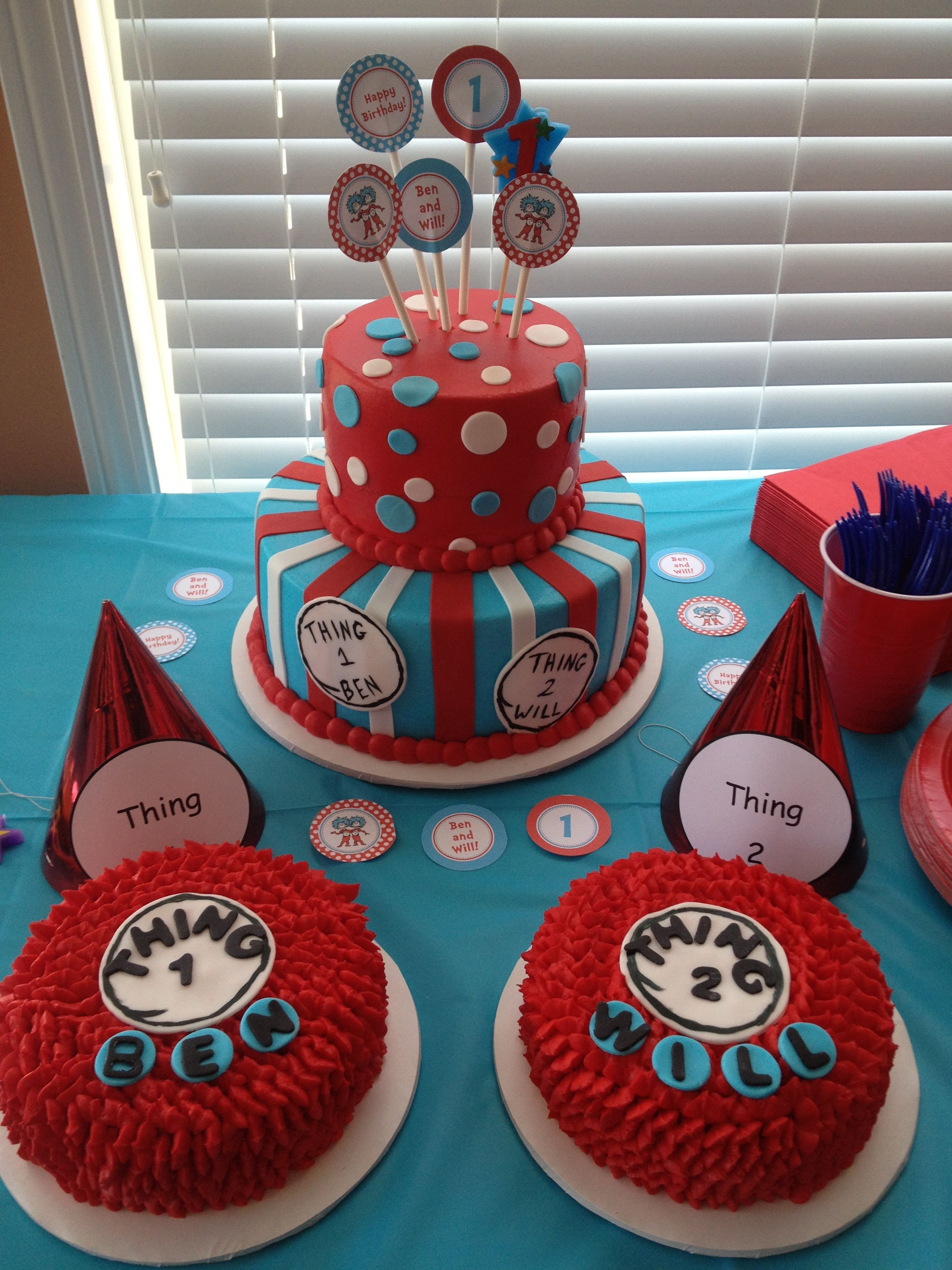 Thing 1 and Thing 2 cake for sweet little twin boys