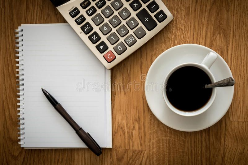 Open A Blank White Notebook Pen And Cup Of Coffee And Calculator On The Desk Affiliate White Notebook Open Blank Pen In 2020 Coffee Cups Pen Calculator