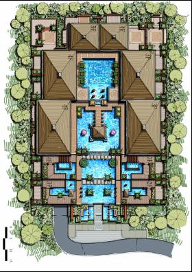 Terraced Apartment Cascading Landscape Design Freehand Master Plan Tropical Villa